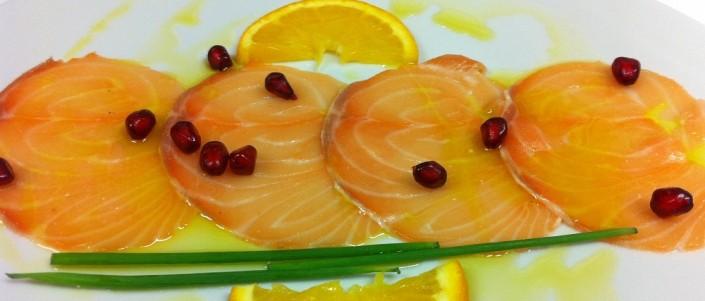 Ristorante Maestrale Roma pesce - Carpaccio di salmone e melograna