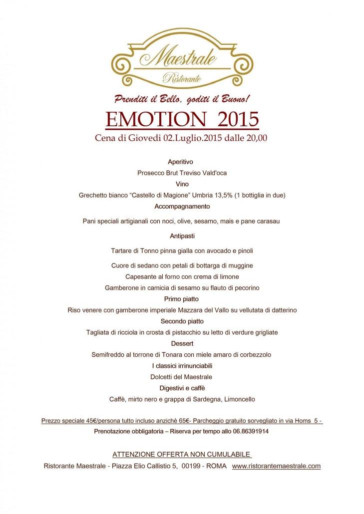 Ristorante Maestrale - Emotion 2015 - Cucina Emozionale Roma