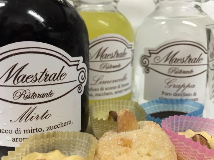 Ristorante Maestrale Roma pesce - Mirto Limoncello e Grappa. I digestivi ed i dolcetti della casa